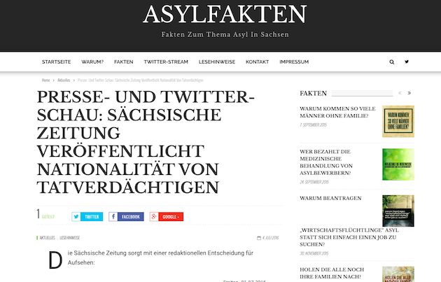 Screenshot asylfakten.de