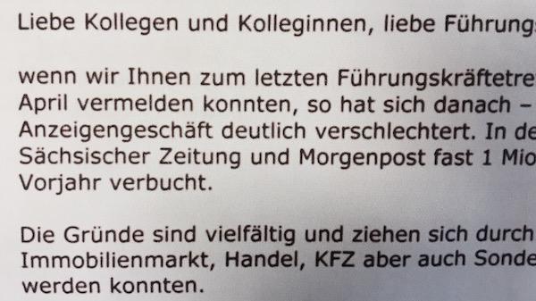 Ausriss aus der internen Mail des DDV-Geschäftsführers.