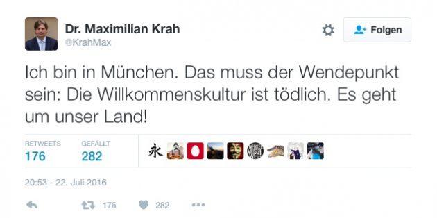 Screenshot des Tweets von Dr. Maximilian Krah
