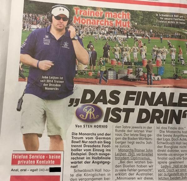 Ausriss aus der gedruckten BILD-Zeitung vom 20.9.2016.