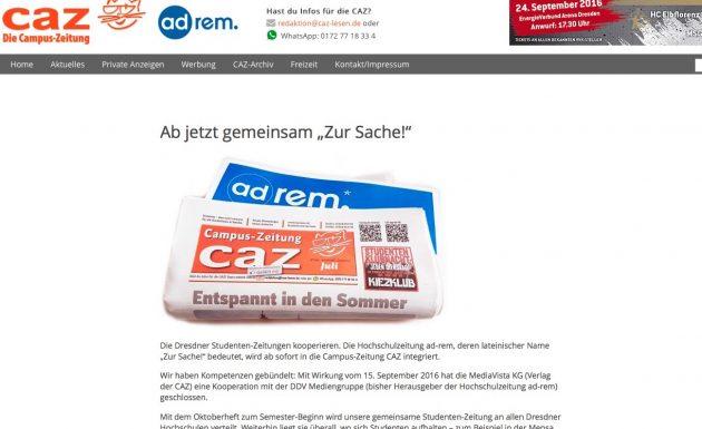 Screenshot von caz-lesen.de.