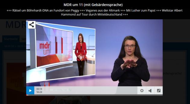 """Das Ländermagazin """"MDR um 11"""" bietet bereits täglich eine Ausgabe mit Gebärdendolmetscher an - Screenshot ist mit Seite verlinkt"""