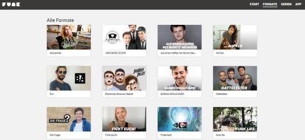 Screenshot von funk.net - Übersicht über einige der bisher 39 Formate