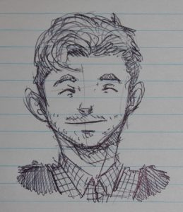 Georg (25) wollte nicht fotografiert werden, hat uns aber stattdessen schnell ein Selbstportrait angefertigt. Er assoziiert die Veranstaltung mit Turnhalle.